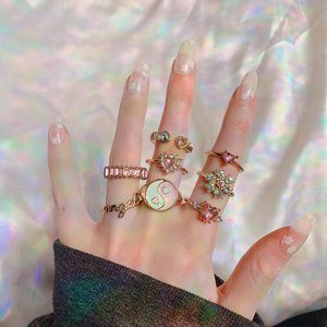 🤍 Pink Cute Ring Set